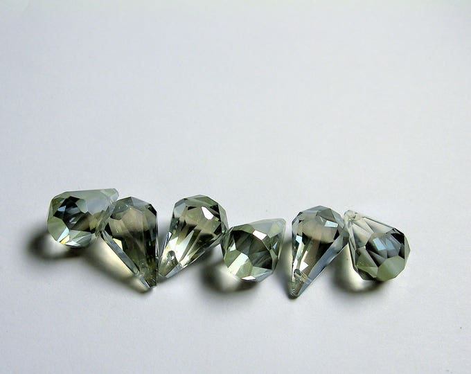 Crystal briolette  - 6 pcs - 11mmx17mm - top sideways drill - Faceted teardrop crystal  beads - mystic smoky green ab - CBC17