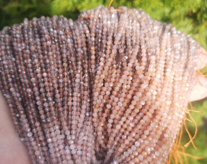 Mix Moonstone - 2.5mm micro faceted  beads -  full strand - Grey beige mix moonstone -152 beads - PG401