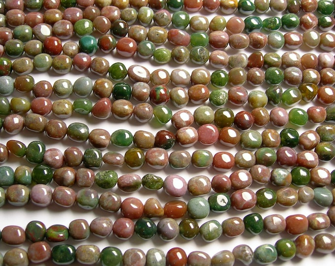 Indian Agate - full strand - nugget - rounded pebble - 44 beads - A quality - 8mm x 10mm -  PSC361