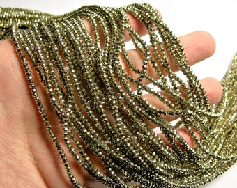 Crystal - rondelle  faceted 3mm x  2mm beads - 198 beads - AA quality  - gold - full strand - CAA2G65