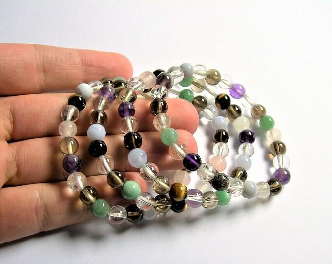 Multi quartz  - 7 mm round beads - 25 beads - 1 set - A quality - HSG77
