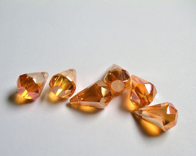 Crystal briolette  - 6 pcs -11mmx17mm - top sideways drill - Faceted teardrop crystal  beads - AB finish - tangerine topaz - CBC15