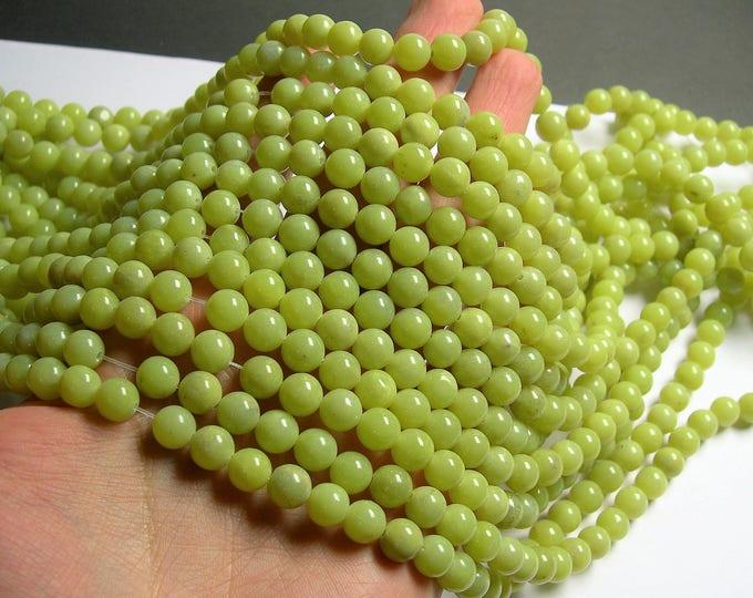 Olive Jade 8mm round beads - 1 full strand - 49 beads per strand - light tone - RFG1294