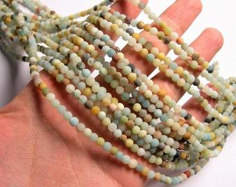 Amazonite - 4mm ( 4.4mm ) round beads -1 full strand - matte - 90 beads - WHOLESALE DEAL - RFG1286