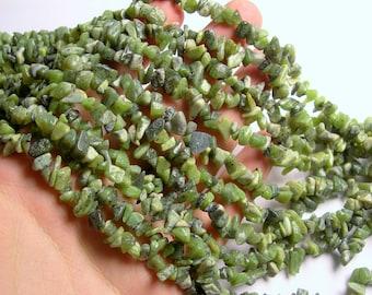 BC Jade gemstone - chip stone - pebble-  nugget - bead - 36 inch -full strand - Canada Jade - nephrite - PSC356