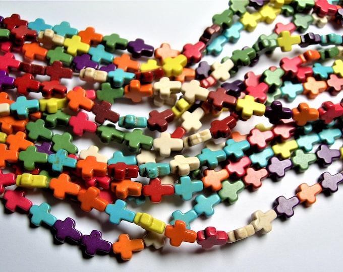 Howlite cross bead - multi color  - 1 full strand - 40 crosses -10mm -  RFG1403