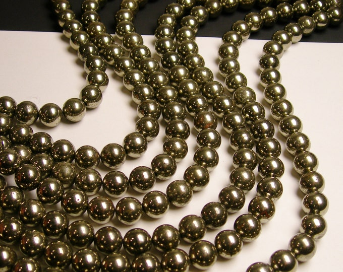 Pyrite - 12 mm - round beads -1 full strand - 34 beads - A quality