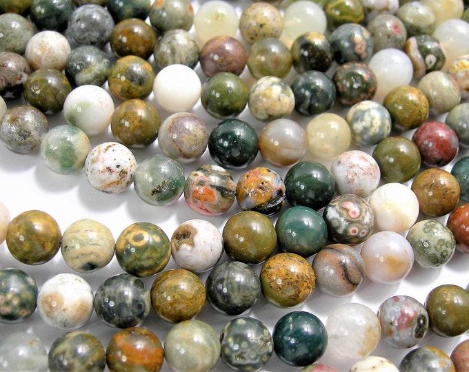Ocean Jasper - 8mm round -  16 inch strand - 49 beads - Old Marovato ocean jasper  - RFG1575