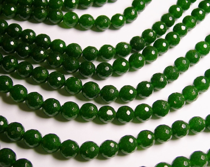 Jade - 10 mm faceted round beads -1 full strand - 39 beads - color  green Jade - RFG1166