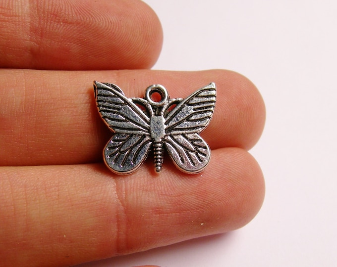 12 Butterfly  charms - hypoallergenic - antique silver butterfly charm -  ASA9