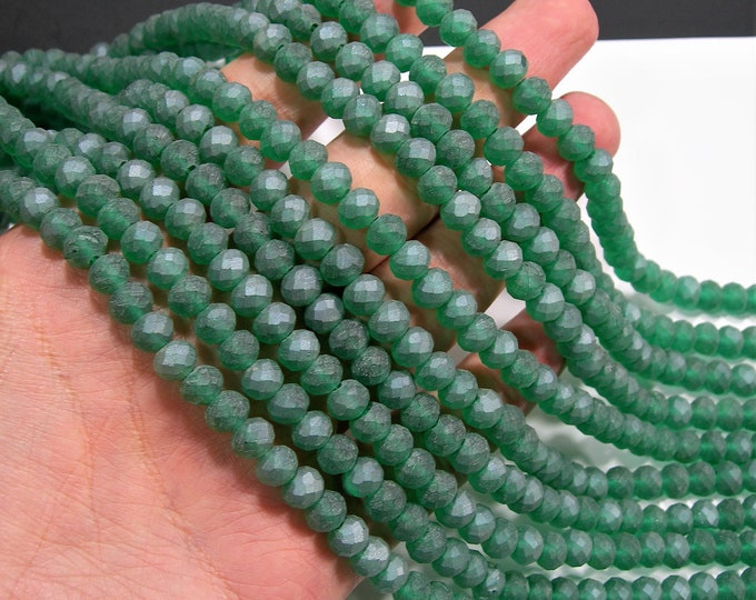 Crystal faceted rondelle - 70 pcs - 8 mm - AA quality - full strand - froded green - RFG1961