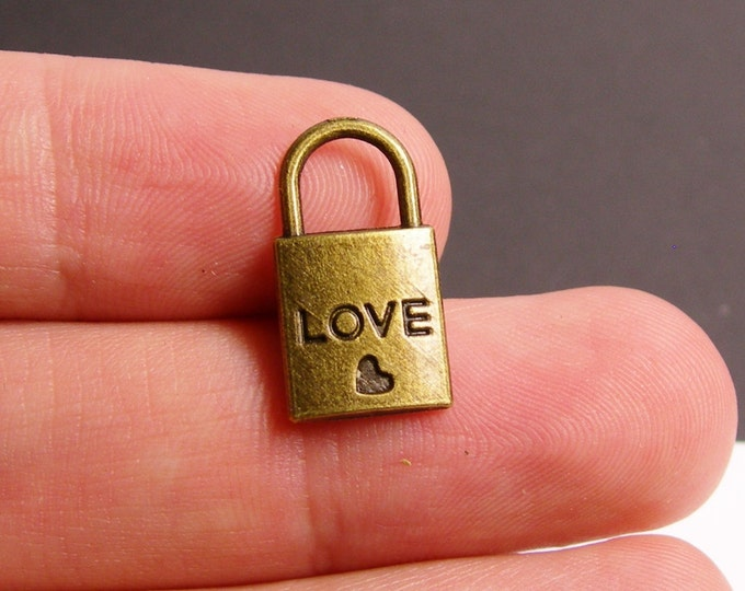 12 pcs antique brass lock charms two sided - love lock charms -  ZAB1