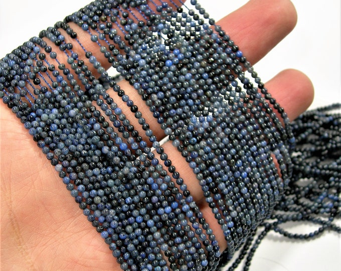 Dumortierite - 2mm round beads - full strand - 190 beads - PG43
