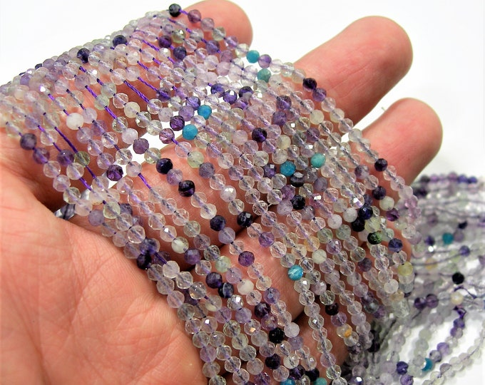 Gemstone mix - 3mm(2.8mm) micro faceted round beads - 137 beads - Full strand- A Quality - PG271