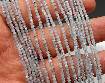 Aquamarine - 2mm faceted round beads -  full strand - 190 beads - PG184