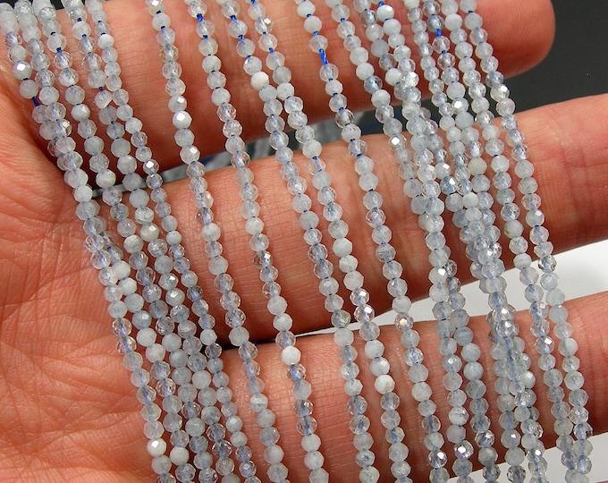 Aquamarine - 2mm faceted round beads -  full strand - 190 beads - PG184