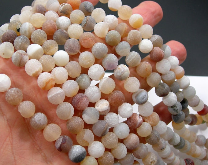 Druzy Agate - 8 mm round beads - full strand - 48 beads - Natural Geode beads - matte - RFG2152
