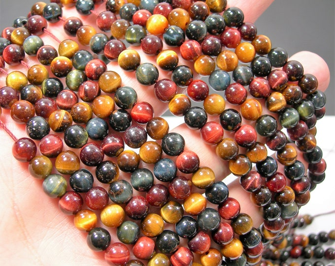 Tiger eye multi color - 6mm round beads - full strand - 62 beads - mix color tiger eye - RFG2187