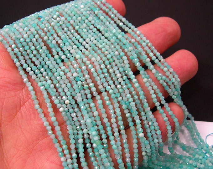 Amazonite - 2mm faceted round beads - full strand - 190 beads - Micro Faceted - PG340