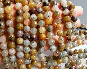 Mix rutilated quartz - 10 mm round beads - full strand - 40 beads -- RFG332