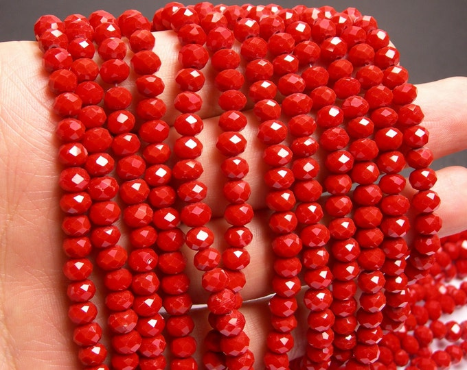 Crystal faceted rondelle - 87 beads - 6 mm - A quality - coral  red - full strand - DAC55