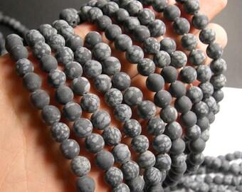 Snowflake Obsidian matte - 8 mm - 50 beads per strand - full strand - Matte - A quality -RFG511