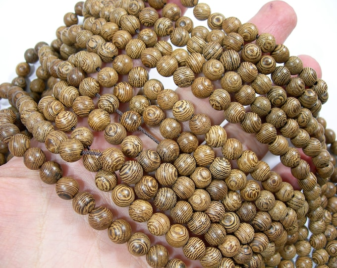 Wenge wood  - 8 mm round beads - full strand - 49 beads  - RFG1771