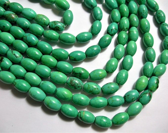 Howlite turquoise - 8mmx12mm beads - full strand - 33 beads -  AA Quality - puff tube - RFG1481