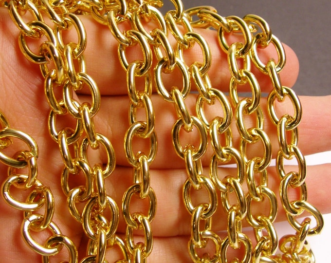 Gold chain - lead free nickel free won't tarnish - 1 meter - 3.3 feet - aluminum chain - cable chain -NTAC101