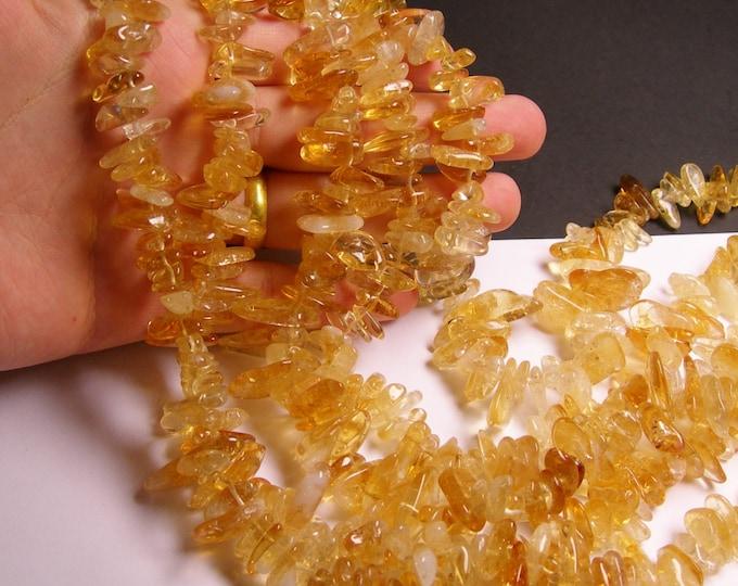 Citrine gemstone - bead - full strand - stick - point - A quality - NRG38