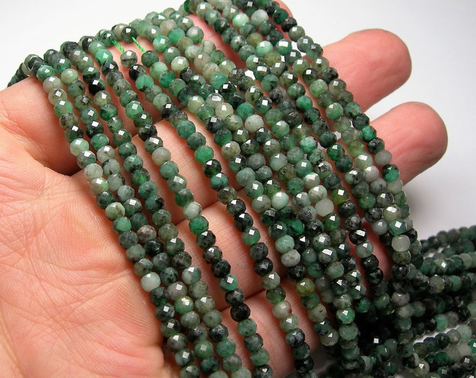 Emerald - 3mm x 4mm  micro faceted rondelle beads - full strand - 129 beads - PG326