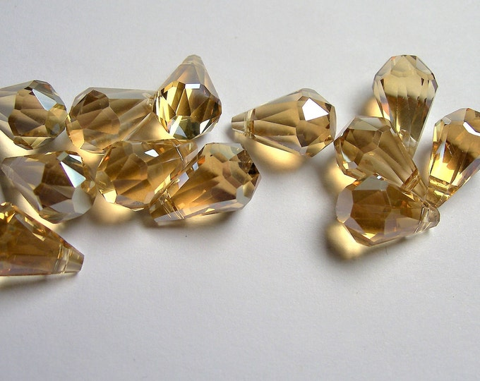 Crystal briolette  - 12 pcs - 9mmx14mm - top sideways drill - Faceted teardrop crystal  beads - yellow topaz - CBC7