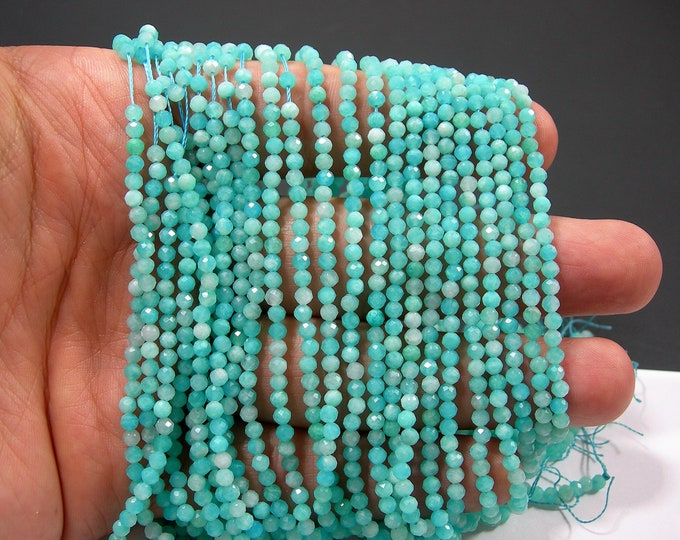 Amazonite - 3mm faceted  beads -  full strand - 129 beads - Amazonite gemstone - Micro Faceted - AA Quality - PG300