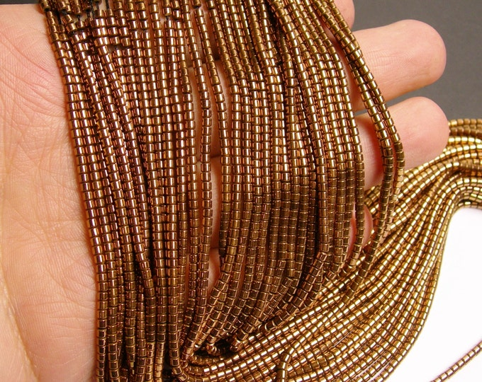 Hematite bronze - 2mm tube beads - full strand - 200 beads - AA quality - PHG89