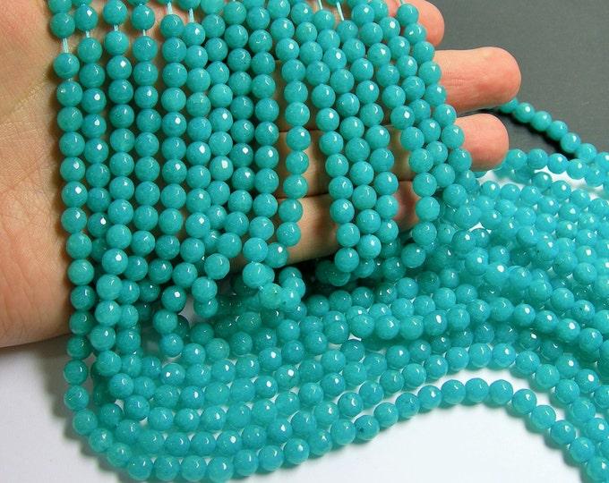 Aqua Jade - 6 mm faceted round beads -1 full strand - 61 beads - Aqua blue Jade - RFG360