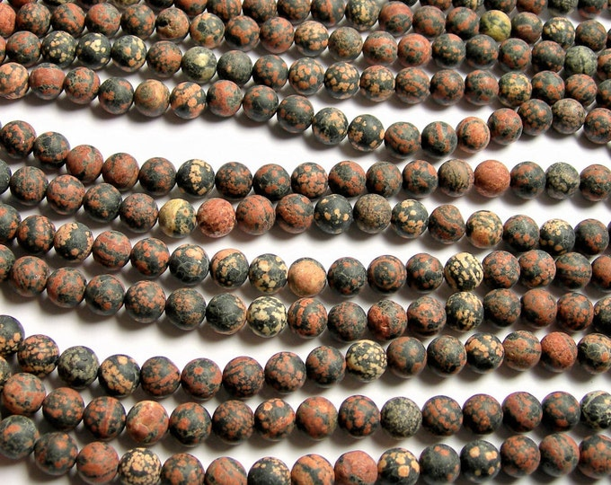 Red Snowflake Obsidian - Matte - 10mm(9.6MM)  round beads - full strand - 41 beads - A quality - Flower obsidian - RFG1202
