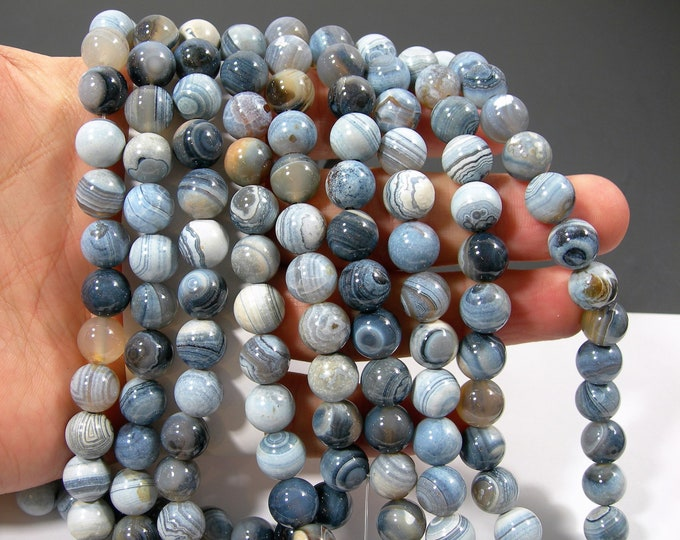 Blue Banded Brazil Agate - 10mm round - full strand - 33 beads - mix tone - RFG2158