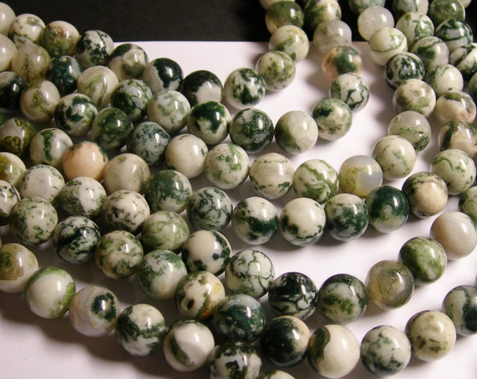 Tree agate - 12mm round beads -1 full strand - 33 beads - RFG1159