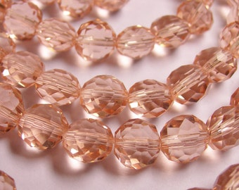Crystal faceted oval round - 50pcs -  9 mm - AA quality - pink - cherry pink   -18 inch strand
