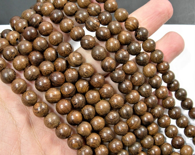 Phoebe Ebony  - 8 mm round beads - full strand - 49 beads - Phoebe zhennan wood -  RFG1842