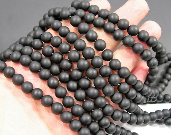 Black Onyx - matte -  8 mm round beads - 1.3mm hole - full strand - 48 beads - AA quality - RFG2008