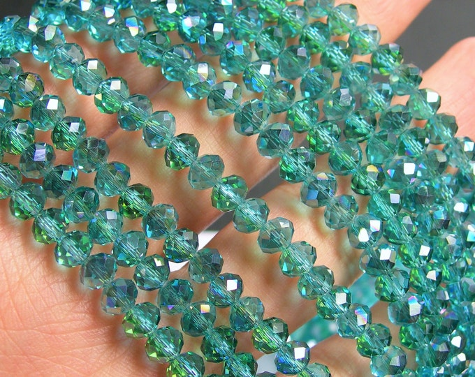 Crystal faceted rondelle - 98 beads - 6 mm - AA quality - ab aqua- full strand - CRV61