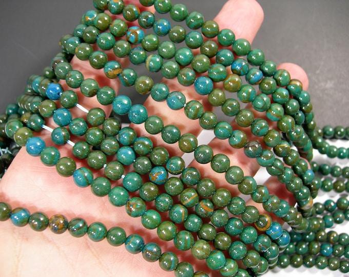 Chrysocolla Wood Jasper - 6mm round beads - full strand - 61 beads - Blue green Serpeggiante - RFG1739