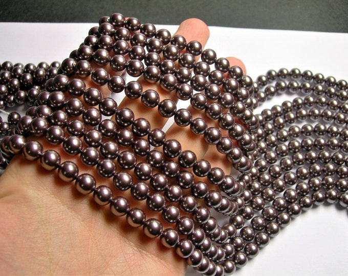 Pearl  - 8 mm round - dark purple  Pearl - 1 full strand - 48 beads - SPT30 - Shell pearl