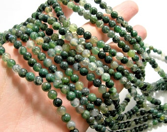 Moss agate - 6mm round beads -1 full strand - 64 beads - WHOLESALE DEAL - RFG1455