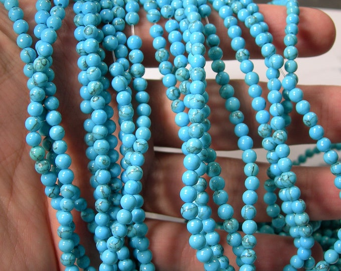 Turquoise - 4mm beads -  full strand - 97 beads per strand  - A Quality - Turquoise Magnesite -RFG1676