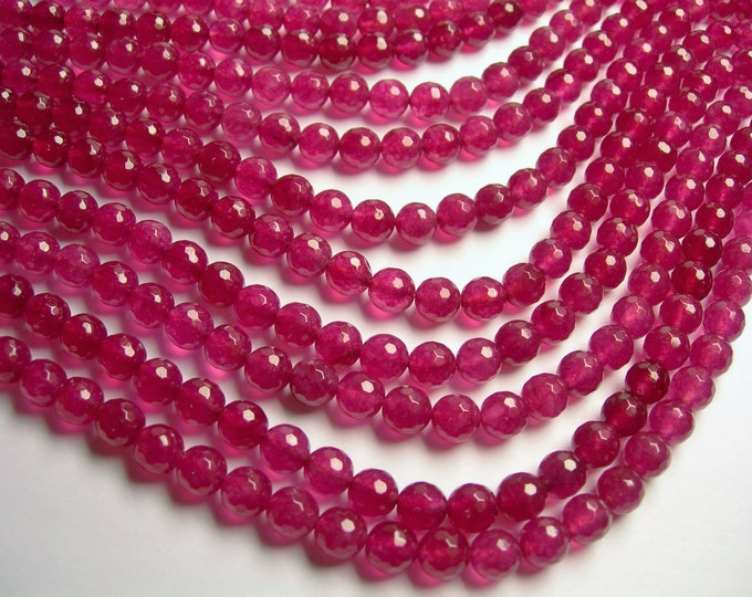 Jade - 8 mm faceted round beads -1 full strand - 48 beads -  Color jade - Ruby Jade - JDC7
