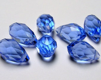 Faceted teardrop crystal briolette beads - 25 pcs - 13mm x 8mm - top sideways drill - Classic Blue - CRTD17