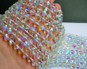 Mystic aura quartz - 8mm round - Holographic quartz - 48 Beads - full strand - RFG736
