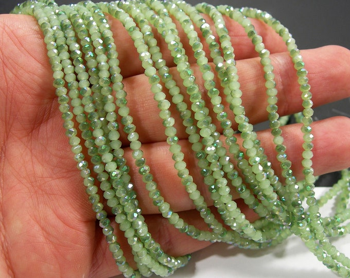 Crystal - rondelle faceted 3mm x 2mm beads - 195 beads - AA quality - Green Ab  - CAA2G253